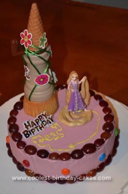 Homemade Tangled Rapunzel Birthday Cake