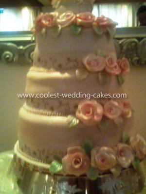 Coolest Homemade Three Tiered Wedding Cake with Roses
