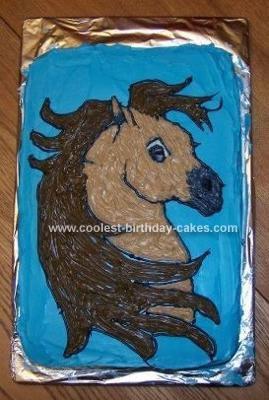 Homemade Horse Bust Birthday Cake