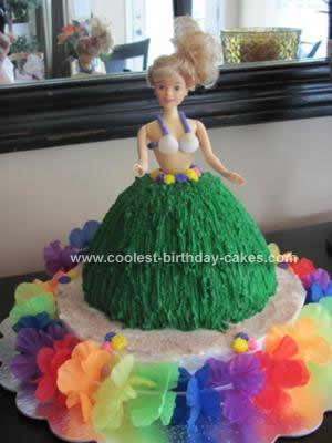 Homemade Hula Barbie Cake Design