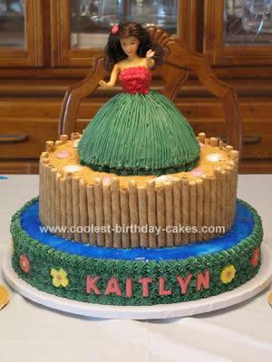 Homemade Hula Girl Luau Birthday Cake