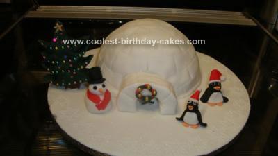 Homemade Igloo Snow Scene Cake