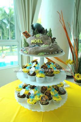 Homemade Indiana Jones Cake and Cupcake Tower