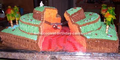 Homemade Indiana Jones Crossing River of Lava Cake