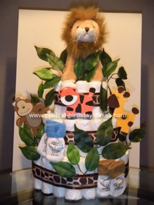 Homemade Jungle Diaper Cake