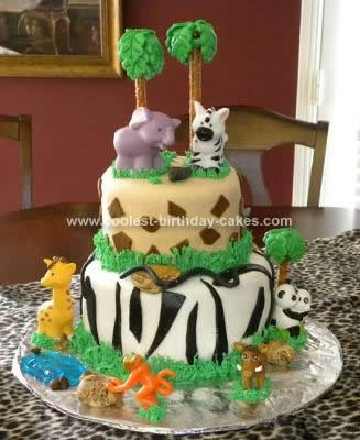 Homemade Jungle Safari Birthday Cake
