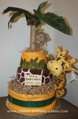 Homemade Jungle Themed Diaper Cake
