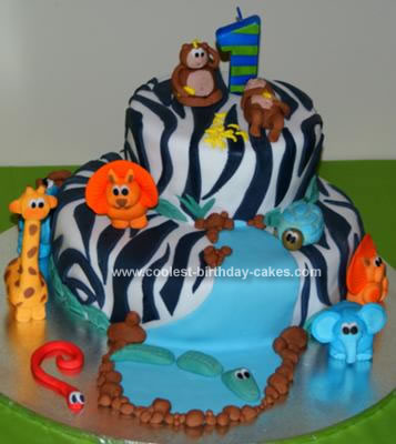 Homemade Jungle Zebra Birthday Cake
