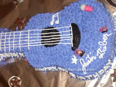 Homemade Justin Bieber Guitar Cake