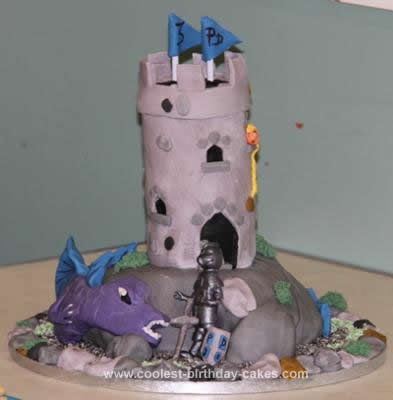 HomemadeHomemade Knight Rescuing Princess from Dragon Birthday Cake