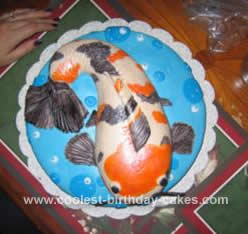 Homemade Koi Shaped Cake