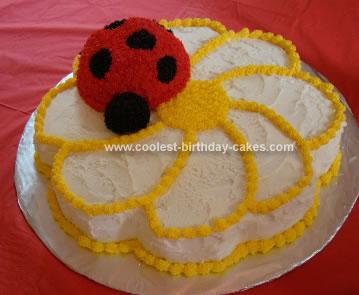 Homemade Ladybug Daisy Birthday Cake