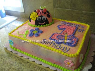 Homemade Ladybug First Birthday Cake