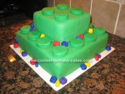 Two Tier Lego Block Cake by Diana