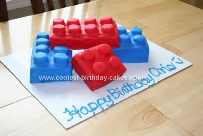 Homemade Lego Brick Birthday Cake