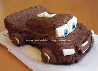 Homemade Lightening McQueen Birthday Cake