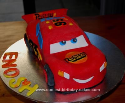 Homemade Lightening Mcqueen Car Cake