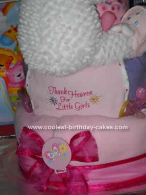 Homemade Little Girls Diaper Cake