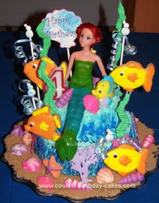 Homemade Little Mermaid 4th Birthday Cake