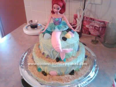 I made this Little Mermaid Birthday Cake for my daughter's 7th birthday