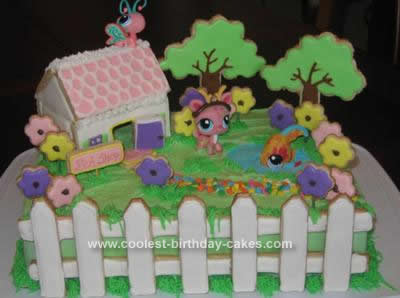Homemade Littlest PetShop Cottage Birthday Cake