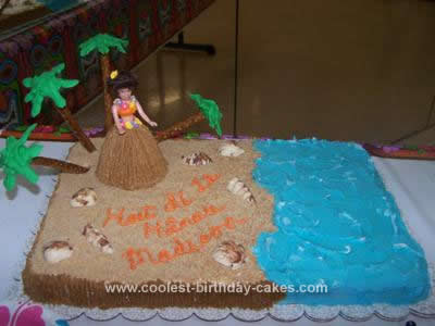 Homemade  Luau Birthday Cake