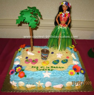 Homemade Luau Birthday Cake Design