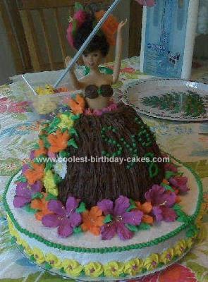 Homemade Luau Girl Birthday Cake