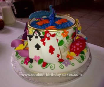 Homemade Mad Hatter Tea Cup and Saucer Cake