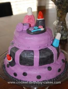 Homemade Make-Up Birthday Cake
