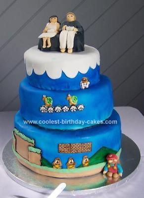 Homemade Mario Brothers Wedding Cake
