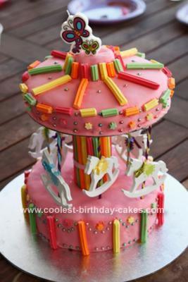 Homemade Merry Go Round 1st Birthday Cake