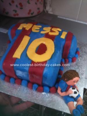 Homemade Messi Football Shirt Cake