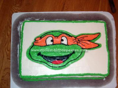 Homemade Michelangelo Ninja Turtle Cake