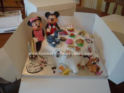 Homemade Mickey and Minnie Mouse Birthday Cake