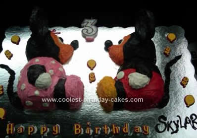 Homemade Mickey and Minnie Mouse Children's Birthday Cake
