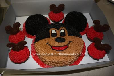 Homemade Mickey Birthday Cake and Cupcakes