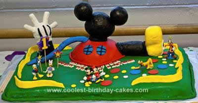 Homemade Mickey Mouse Clubhouse 1st Birthday Cake