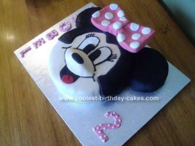 Homemade Minnie Mouse 2nd Birthday Cake