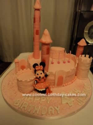 Homemade Minnie Mouse Castle Cake