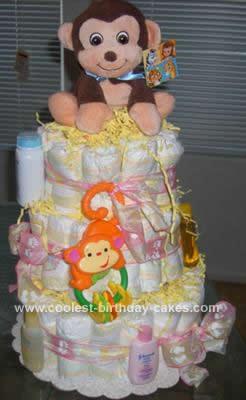 Homemade Monkey Diaper Cake