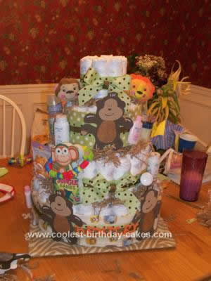 Homemade Monkey Diaper Cake