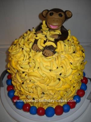 Homemade Monkey Goes Bananas Birthday Cake