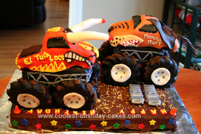 Homemade Monster Mutt & El Toro Loco Truck Cake