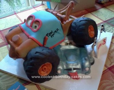 Monster Truck Birthday Cake on Homemade Monster Truck Mater And Finn Mcmissle Birthday Cake