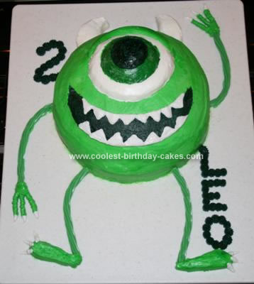 Homemade Monsters Inc. Mike Waszowski Birthday Cake