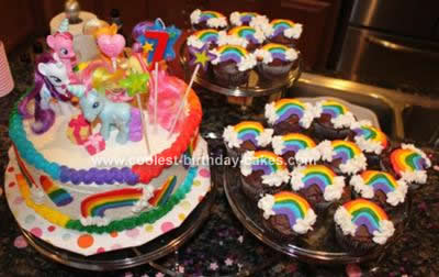 Homemade My Little Pony Rainbow Cake