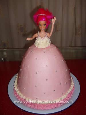 Homemade Naturally Coloured Doll Cake
