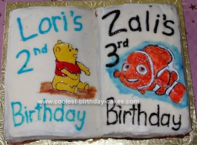 Homemade Nemo and Pooh Book Cake