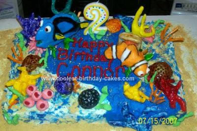 Homemade Nemo Scene Birthday Cake